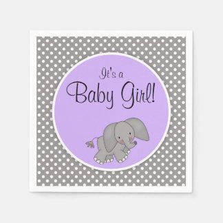 Cute Purple Elephant Girl Baby Shower Napkin