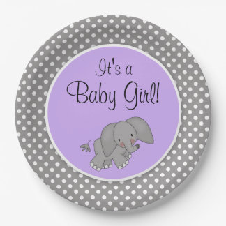 Cute Purple Elephant Girl Baby Shower Paper Plate