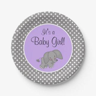 Cute Purple Elephant Girl Baby Shower Paper Plate