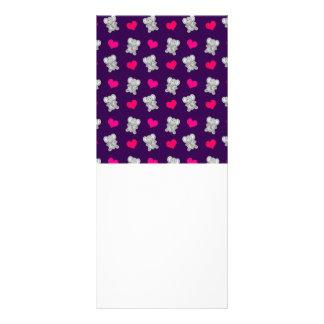 Cute purple elephant hearts pattern personalized rack card