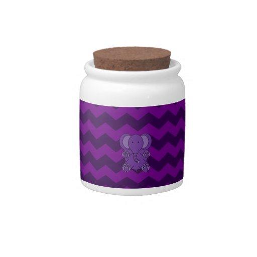 Cute purple elephant purple chevrons candy jars