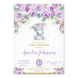Purple Elephant Baby Shower Invitations, Cute Floral, Girl