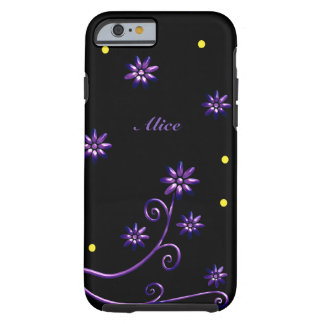 Cute purple flowers on black background tough iPhone 6 case