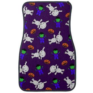 Cute purple Frankenstein mummy pumpkins Car Floor Mat