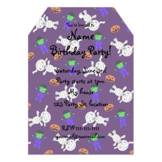 "Cute purple Frankenstein mummy pumpkins 5"" X 7"" Invitation Card"