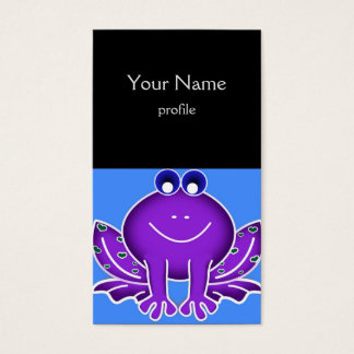 cute purple frog business card