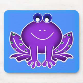 cute purple frog mouse pad