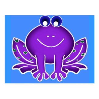 cute purple frog postcard