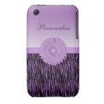 Cute purple gerbera daisy  on zebra pattern Case-Mate iPhone 3 cases