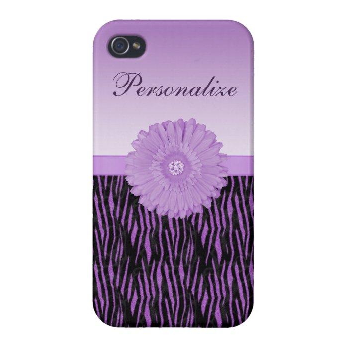 Cute purple gerbera daisy  on zebra pattern iPhone 4/4S case