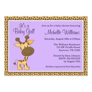 Cute Purple Giraffe Girl Baby Shower Card