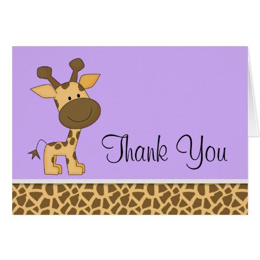 Cute Purple Giraffe Thank You Cards