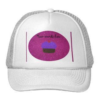 Cute purple glitter cupcake pink glitter mesh hat