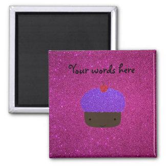 Cute purple glitter cupcake pink glitter magnet