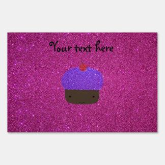 Cute purple glitter cupcake pink glitter yard signs