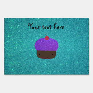 Cute purple glitter cupcake turquoise glitter yard signs
