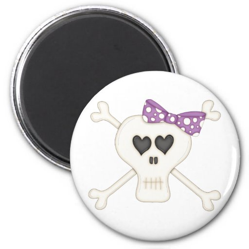 Cute Purple Goth Crossbones 2 Inch Round Magnet