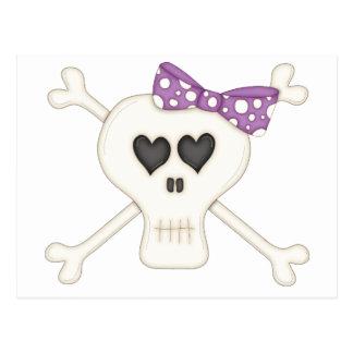Cute Purple Goth Crossbones Post Cards