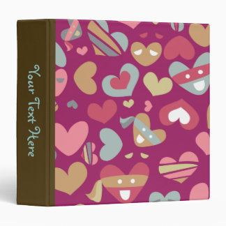 Cute Purple Gray Gold Pink Hearts & Blindfolds 3 Ring Binder