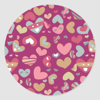 Cute Purple Gray Gold Pink Hearts & Blindfolds Classic Round Sticker