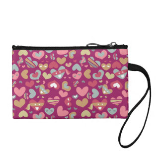 Cute Purple Gray Gold Pink Hearts & Blindfolds Coin Purse