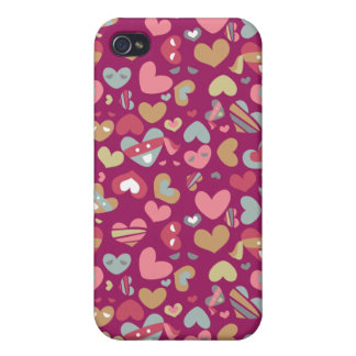 Cute Purple Gray Gold Pink Hearts & Blindfolds Covers For iPhone 4