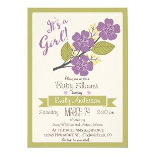 Purple and yellow baby shower invitations zazzle cute purple green baby shower invitation filmwisefo