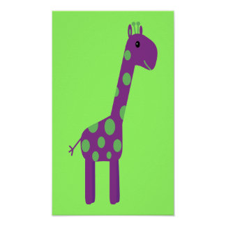 Cute Purple & Green Cartoon Giraffe Customizable Poster