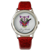 Cute Purple, Green & Red Owl Glitter Watch