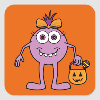 Cute Purple Halloween Monster Square Sticker