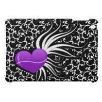 cute purple heart damask pattern girly Ipad case