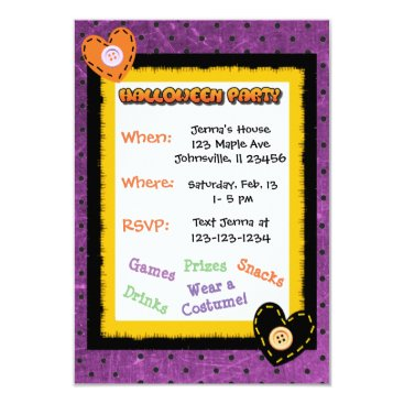 Halloween Themed Cute Purple Heart Halloween Invitations