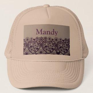 cute purple hearts and little flower  Mandy hats