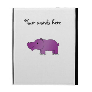 Cute purple hippo iPad folio case