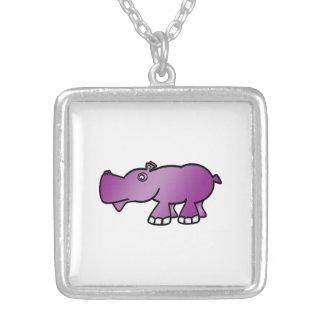 Cute purple hippo square pendant necklace