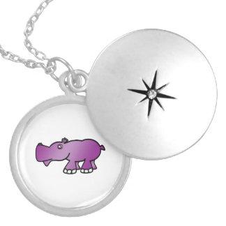 Cute purple hippo round locket necklace