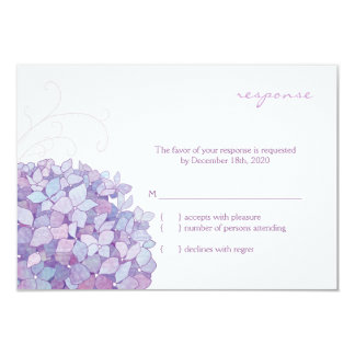 Cute Purple Hydrangea Bloom Wedding RSVP Card