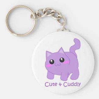 cute purple kitten key chain