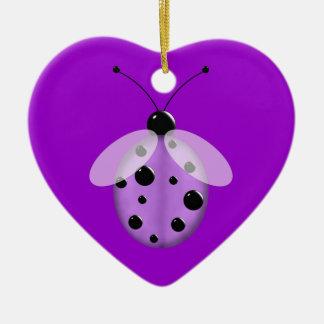Cute Purple Lady Bug Ceramic Ornament