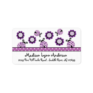 CUTE Purple Ladybugs Return Address Label