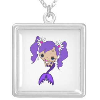 Cute Purple Mermaid Silver Plated Necklace