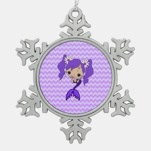 Cute Purple Mermaid Snowflake Pewter Christmas Ornament