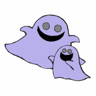 cute purple momma and baby ghosts photo cutouts