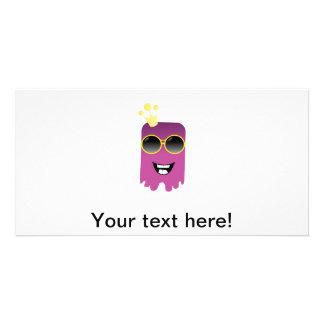 Cute purple monster cartoon photo card