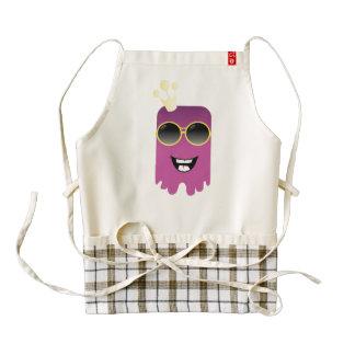 Cute purple monster cartoon zazzle HEART apron