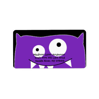 CUTE Purple Monster Return Address Label