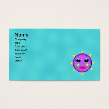 Professional Business Cute Purple Moon Face Pink Lips Star Cheeks Business Card