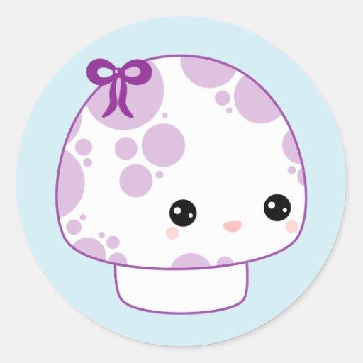 Cute Purple Mushroom Classic Round Sticker