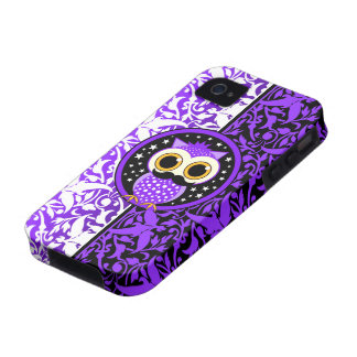 cute purple mustache owl vibe iPhone 4 covers