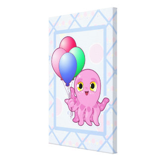 Cute Purple Octopus and Balloons Canvas Print
